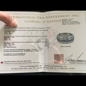 Jewelry - Custom19k diamond, pink sapphire & aquamarine band